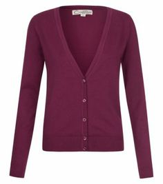 Purple Basic V Neck Cardigan