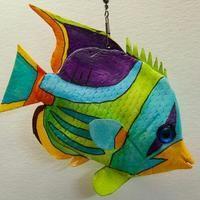 Clay Fish, Felt Fish, Fish Wall Art, Fish Art, Fish Crafts, Rock Crafts, Colorful Fish, Tropical Fish, Surfboard Painting