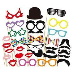 31 pcs papel cartão foto cabine adereços divertido favor de partido (óculos& chapéu& bigode& chapéu) – BRL R$ 27,77