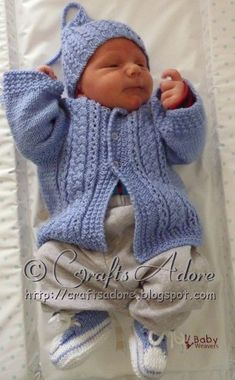 """Handsome Cables"" Knitted Baby Boy Cardigan Free Knitting Pattern When expecting my fifth baby, I decided to knit a ""going home"" outfit in..."