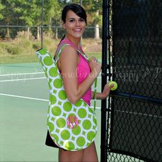 Monogrammed Green Polkadot Tennis Racket Cover