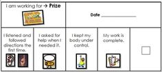 I created a couple behavior management task cards for kiddos who have trouble following the general behavior plan of the class. The first card was created for a student who had a hard time controlling his anger. This card has 4 goals for the child to work for in order to earn a prize from the prize box.