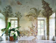 fresco painted wall mural