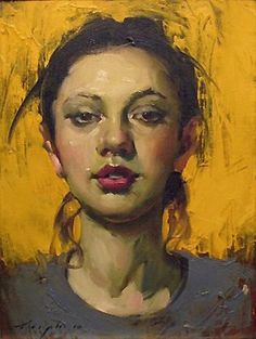 Artist: Malcolm Liepke (b. 1966), oil on canvas {contemporary figurative beautiful female head woman face portrait painting #loveart}