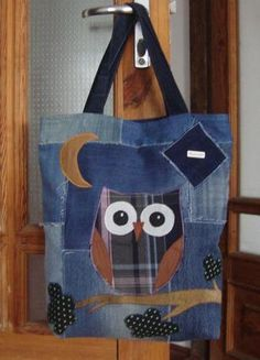 Handmade jeans bag owl 1 Source by Denim Bags From Jeans, Denim Tote Bags, Denim Handbags, Patchwork Bags, Quilted Bag, Sewing Crafts, Sewing Projects, Owl Bags, Denim Crafts