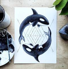 Orca painting by artist Matt Osborn - MOWA  #art #illustration #design #orca #whale #blackandwhite #ocean #drawing #westcoast #painting #acrylic #design #homedecor