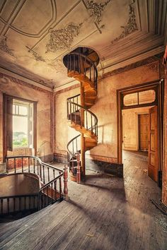 The staircase is the focal point, and my eyes first went to all of the stuff on the floor, and the unfinished look, and then went up the stairs to the hole in the ceiling. Abandoned Mansions, Abandoned Buildings, Abandoned Places, Old Buildings, Beautiful Architecture, Architecture Design, Future House, This Old House, Rustic Home Design