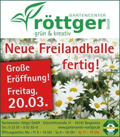 Große Eröffnung - Freitag, 20.03.! Neue Freilandhalle!