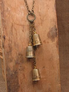 Upcycled Jewelry - Sewing - Seamstress - Vintage Triple Brass Advertising Thimble Lariat Style Necklace