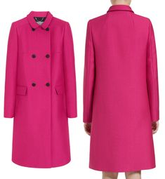 December 9, 2014 - Kate wore Mulberry's Double Breasted Coat in cerise, a vivid spot of color against the sodden cityscape.  Mulberry