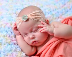 new born baby girl lace peach ping vintage by BambinoParadiso, $22.00