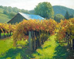 Autumn Vineyards by Armand Cabrera - Autumn Vineyards Painting - Autumn Vineyards Fine Art Prints and Posters for Sale