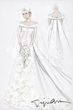 831 best illustrations 6 images vintage weddings bridal gowns Gunne Sax Prom Dresses via by sasha july 2011 a sketch of the monaco royal wedding dress by gi io armani