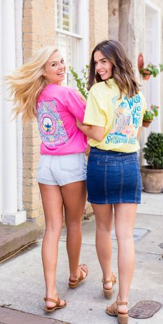 Southern Shirt Company, Back To School Outfits, Good Times, Dress To Impress, Denim Skirt, Surf, Sunshine, Cute Outfits, Graphic Design