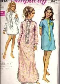 1960's Sleep-Shirt, Nightshirt Pattern, Simplicity 7912, Size 8-10