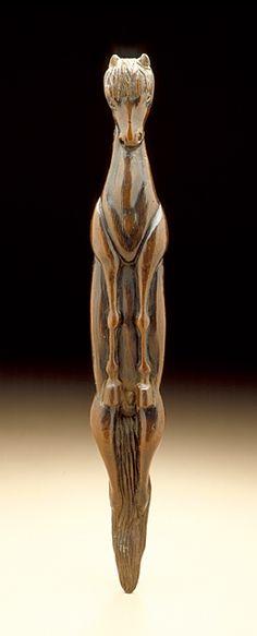 Japan  Vertical Horse, 18th century  Netsuke, Wood with inlays; sashi type