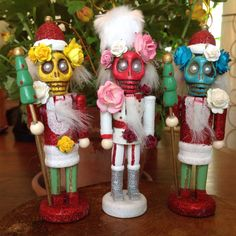 Day of the Dead Nutcracker Ornaments by HoopyChoo on Etsy Nutcracker Ornaments, Nutcrackers, Day Of The Dead, Yule, Skulls, Nativity, Holiday, Christmas, Crafting