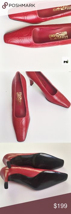 Red Ferragamo pumps Gorgeous Ferragamo pumps square toed beautiful paired with an all white midi dress or all white slacks! Great for a professional office job or a real estate! These have a rectangular heel for comfortable walking. The Ferragamo logo is imprinted all over the shoe these have never been worn before but there is a small silver mark on the back of the left heel. Other than that amazing condition to die for😍😍😍😍🌹🌹🌹🌹!!! Ferragamo Shoes Heels