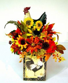 country floral arrangements | French Country Rooster Silk Floral w/ sunflowers, gerbera daisies ...