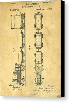 Drawing Canvas Print featuring the drawing Toy Train Original Vintage Patent Art by Edward Fielding
