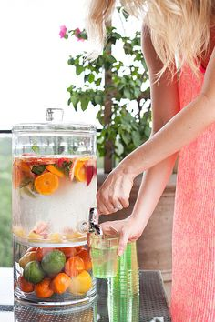 Who needs pop when you can make a refreshing beverage kissed by nature? Fruit infused water is delicious. The water hydrates the skin and you also get the benefits of the nutrition from the fruit. Beverage jar filled with fruit-infused water
