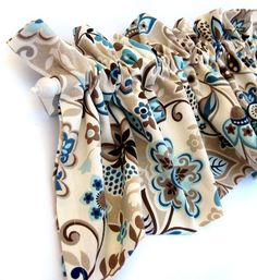 VALLEY Valance Curtains Brown Tan Blue Teal Flowers Leaves  53 inches wide
