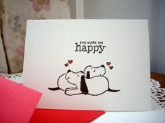 happy valentine's day card dog valentine card by PointingDogPaper
