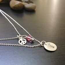 Tinny Peace Sign Necklace with Crystal -Two strands $18