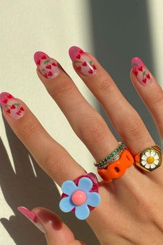 Hair And Nails, My Nails, Kylie Nails, Heart Nails, Fimo Ring, Polymer Clay Ring, Nail Jewelry, Jewlery, Funky Jewelry