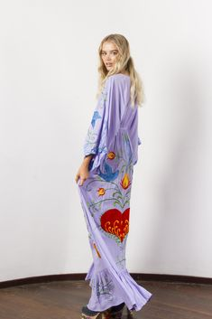 """""""Strange Magic"""" Women's embroidered duster - Lavender Fillyboo - Boho inspired maternity clothes online, maternity dresses, maternity tops and maternity jeans. Maternity Jeans, Maternity Tops, Maternity Dresses, Maxi Dresses, Maternity Clothes Online, Bohemia Dress, Magic Women, Plus Dresses, White Long Sleeve"""