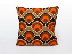 Orange Mid Century Modern Pillow Cover | Retro Cushion Cover | Throw Pillow | Decorative Pillow | Handmade from Vintage Fabric by EllaOsix by EllaOsix on Etsy