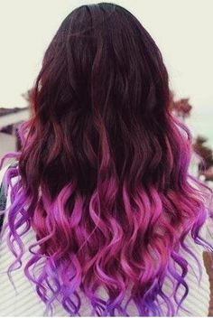 50 Trendy Ombre Hair Styles - Ombre Hair Color Ideas for Women - Hairstyles Weekly Diy Ombre Hair, Ombre Hair Color, Cool Hair Color, Purple Hair, Purple Ombre, Hair Colors, Purple Tips, Violet Ombre, Violet Hair
