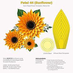 Paper Flower Art, Paper Flowers Craft, Paper Flower Tutorial, Flower Crafts, How To Make Sunflower, How To Make Paper Flowers, Giant Paper Flowers, Big Flowers, Sunflower Template