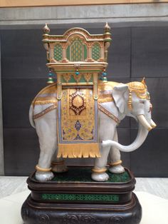 """Minton Majolica Elephant on display at the Yale Center for British Art, for the exhibit, """"Sculpture Victorious"""", autumn, 2014."""