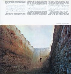 "Michael Heizer, Double Negative, 1969 — as seen alongside Artforum editor Philip Leider's essay ""How I Spent My Summer Vacation or, Art and Politics in Nevada, Berkeley, San Francisco and Utah,"" September 1970. This, then, might have been before Heizer embarked on the second bout of work on the cuts in 1970, digging the trenches wider and deeper."