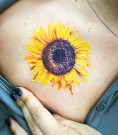 Think minute about detailing a sunflower tattoo. Obtaining a sunflower tattoo is a basic decision and a whopping thing. Sunflower tattoos are produced in several of various styles. Watercolor Sunflower Tattoo, Sunflower Tattoo Sleeve, Sunflower Tattoo Shoulder, Sunflower Tattoo Small, Sunflower Tattoos, Sunflower Tattoo Design, Tattoo Watercolor, Neue Tattoos, Body Art Tattoos