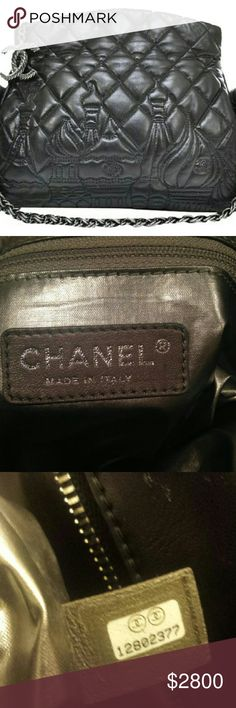 NWOT Rare Chanel lambskin Moscow Collection purse Soft quilted lambskin Chanel jumbo purse with Moscow city skyline design detail. No wear or scuffs on bag. Silver chain and CC logo zipper. Excellent condition. CHANEL Bags Shoulder Bags