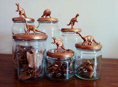 Copper Dinosaur Jar // Ceratops // Animal Jar // Handmade and