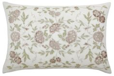 The Amelia rectangular cushion ~ off white linen blend base fabric, with pastel pink velvet and pale green taffeta appliqués. Dimensions 43 x 63cm.