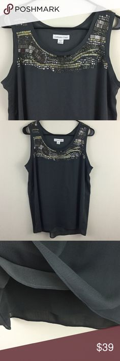 """Gray beaded sequined dressy tank top Really pretty beading and sequins combination in a random unique pattern for added interest, this I only wore one time it's too big on me, chest measures 20"""" across, length is 26"""" Coldwater Creek Tops Tank Tops"""