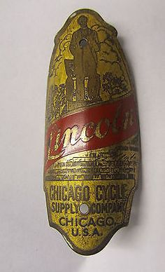 VINTAGE PREWAR SCHWINN BICYCLE LINCOLN HEAD BADGE ANTIQUE BIKE CHICAGO CYCLE USA