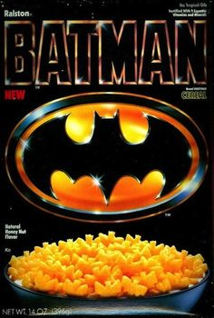 Batman Cereal | 25 Cereals From The '80s You Will Never Eat Again They had Batman cereal! I seriously missed out.