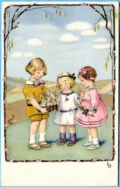 Lia Doring postcard of children with rabbits, Easter, Used 1924 Easter Illustration, Children's Book Illustration, Vintage Easter, Vintage Holiday, Vintage Postcards, Vintage Images, Fete Pascal, Patron Vintage, Easter Pictures