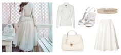 Beauty in white! :)  Handbag & Shoes - Clara-Veritas Sweater - Simple - CP Midi Skirt - Topshop Belt - ZARA
