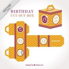 Vintage cortar a caixa para o aniversário Vetor grátis