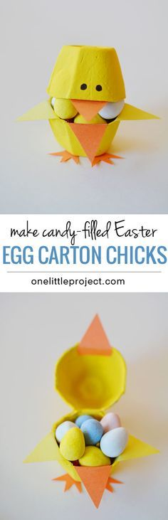 Candy-Filled Easter Egg Carton Chicks | Egg Carton Crafts