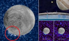 Breakthrough in search for life on Europa as Hubble spots gigantic plumes of water 125 miles high that confirm hidden ocean engulfs Jupiter's moon   Read more: http://www.dailymail.co.uk/sciencetech/article-3808419/Breakthrough-search-life-Europa-Hubble-spots-gigantic-plumes-water-125-miles-high-confirm-hidden-ocean-engulfs-Jupiter-s-moon.html#ixzz4LYKSZx4v  Follow us: @MailOnline on Twitter | DailyMail on Facebook
