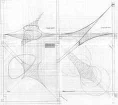 Distortion of a fabric plan to create a system of  transition  between two floors of the matrix - study by Frei Otto