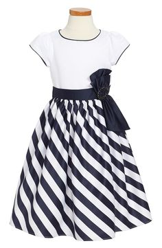 Diagonal stripes highlight the twirly skirt of a festive cap-sleeve dress accented with a sleek satin sash. Baby Girl Party Dresses, Toddler Girl Dresses, Little Girl Dresses, Baby Dress, Girls Dresses, Toddler Girls, Frock Fashion, Fashion Dresses, Stylish Dresses