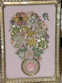 Pretty in Pink Framed Vintage Jewelry Art by JewelArtbyLinda